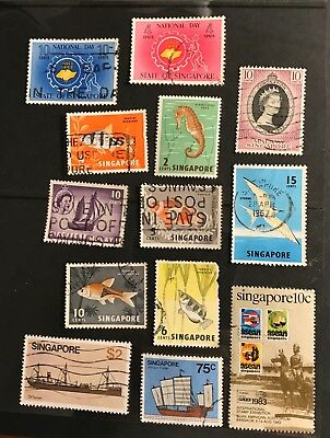 Singapore postage stamps lot of 13 old