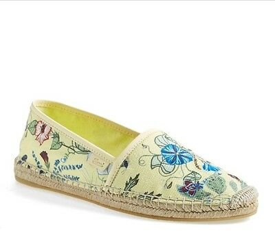 2a1997f621a 100% Authentic Gucci Pilar Floral-Print Espadrille Flats Yellow-Multi  37.5(7.5
