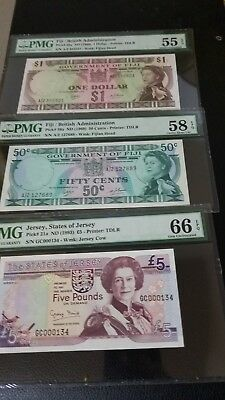Queen Elizabeth Lot Of Three Banknotes Fiji 1969 Jersy 1993 Low Serial Number...
