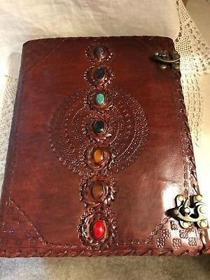 ExLG 7 Gemstone Chakra Journal Book of Shadows 2 Locking Latch Wicca Pagan Coven