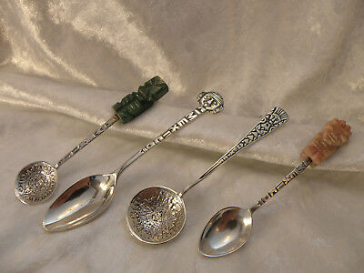 STERLING SILVER SOUVENIR SPOONS x 4 MEXICO EXCELLENT CONDITION NICE OLD ITEMS