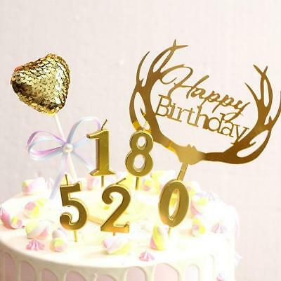 Number 0 9 Happy Birthday Cake Candles Gold Topper Decoration Party Supplies
