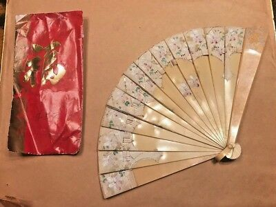 Gorgeous Antique Celluloid Fan Hand Painted Rosettes  6 inches