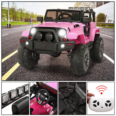 12V Kids Ride On Car  Jeep Racing Battery Electric Music Light Pink