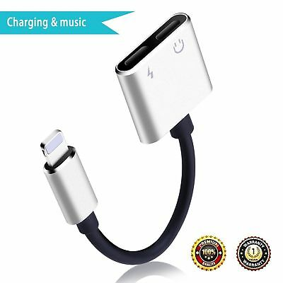 iPhone Splitter Adapter Dual Lightning Headphone Jack Aux Audio Cable 2-in-1