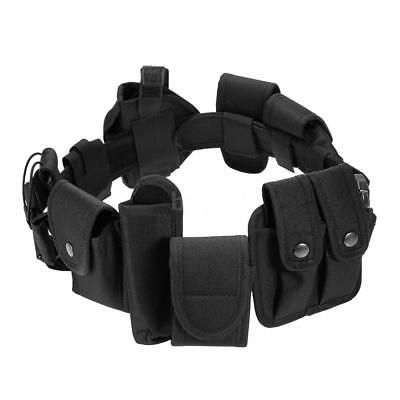Unisex Tactical Security Guard Utility Kit Belt with Pouches Holster Black C8U5