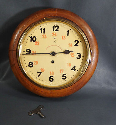 Antique Round Hamburg American Wooden Wall Clock Marine Yacht Railroad Train 24h