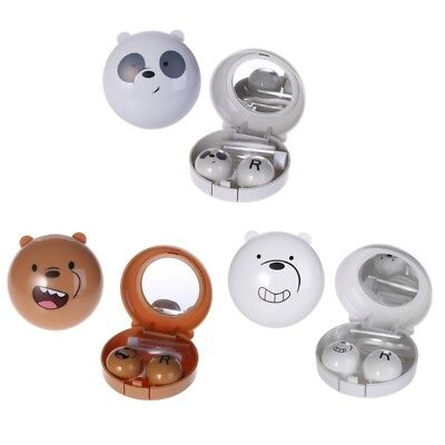 Cute Cartoon Round Milk Bear Travel Portable Contact Lenses Case Eye Care Kits