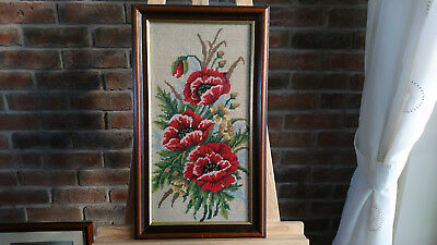 Framed Complete Cross Stitch - Red Roses - Floral Flowers - Decorative