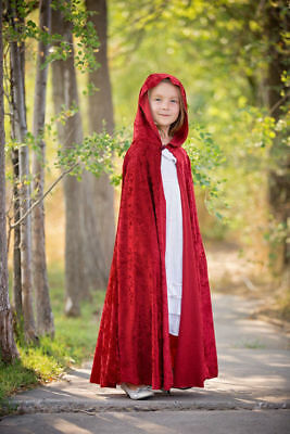 Kid Girl Red Riding Hood Cape Hooded For Child Fancy/costume Party Halloween