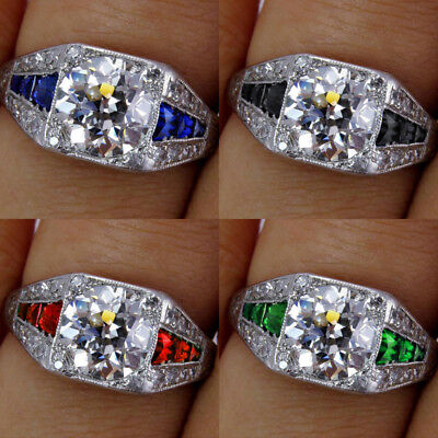 Exquisite 925 Silver White Topaz&Sapphire&Emerald Multi-Color Wedding Rings HOT!