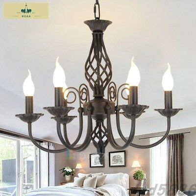 Vintage Wrought Iron Chandelier E14 Candle Light Lamp Black White Metal Lighting