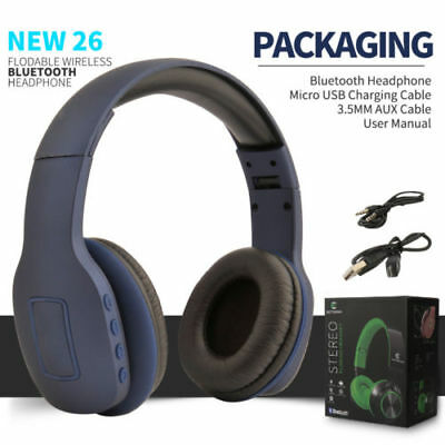 Bluetooth Stereo Foldable Wireless Over Ear Mic Headset Headphone With AUX Cable