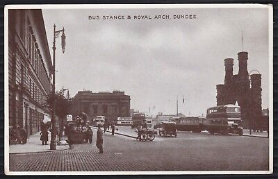 SUPERB PPC of DUNDEE BUS STANCE & ROYAL ARCH. BUSES, CARS, CART, PEOPLE ETC.
