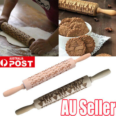 Christmas Rolling Pin Engraved Rolling Pin Wooden Embossed Rolling Pin Hot OD