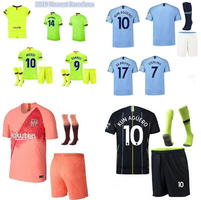 18/19 Home Away Kids Boys Football Outfit Soccer Jersey Kit Suit 3-14 Yrs+Socks