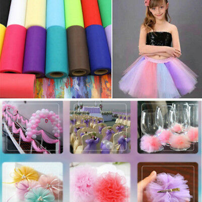 "1pcs  6""* 25Yds Tulle Spool fabric Rolls Dress Tutu DIY Wedding Supplies Decor"