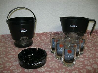 Lot CLAN CAMPBELL 6 VERRES A WHISKY BABY + CENDRIER + PICHET + SEAU A GLACE TBE
