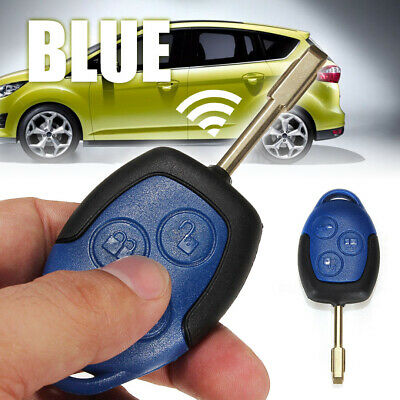 3 Button Connect Remote Key Fob Case Shell For Ford Transit With Blade Blue