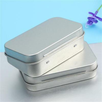 Small Metal Tin Storage Box Silver Case Organizer For Money Coin Candy Key