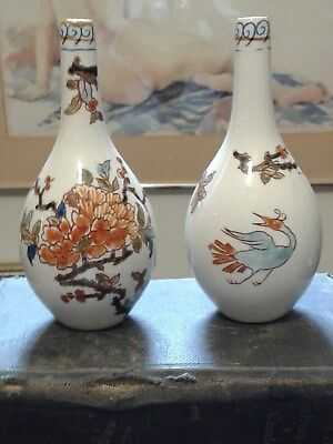 Antique French Vases Made In France Asian Style Hand Painted 1860