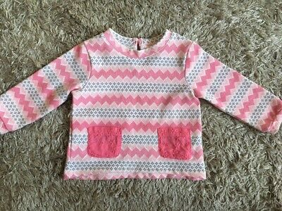 TARGET Baby Girls Pink Zig Zag Print Jumper with Pockets (Size 0)