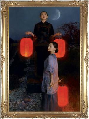 """Hand painted Original Oil Painting Portrait art chinese girl on canvas 30""""x50"""""""