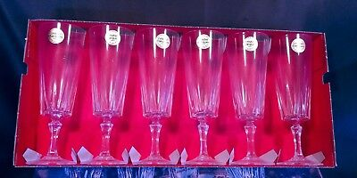 Cristal D'arques Versailles Champagne flutes Glasses Old New Stock Lead Crystal