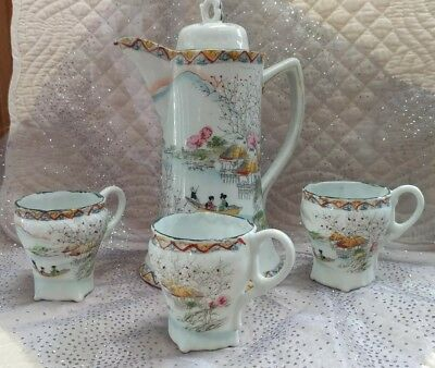 Nice Vintage Hand Painted Moriage 4 Piece Porcelain Japanese Tea Set,