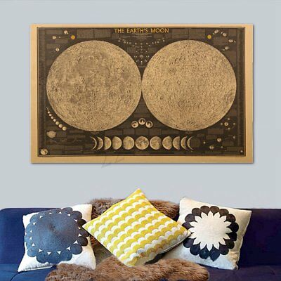 Removable Wall Sticker Large Vintage Earth Moon World Map Art Home Room Decor