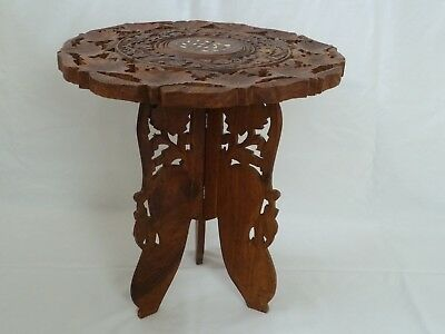 Vintage Indian/Moroccan Wooden Folding Table Ornately Carved