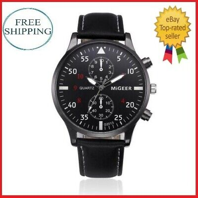 Migger Retro Men's Leather Band Sports Date Analog Alloy Military Quartz Watch