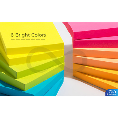 Sticky Notes 3 x 3, 12 Pads 1200 Sheets Total, a Pack of Six Bright Colors