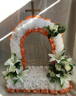 Artificial Silk Funeral Flower Gates of Heaven Tribute Memorial Wreath Faux