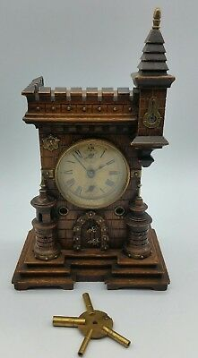 Antique Black Forest German Junghans Mantle Castle Clock Early 19th Century
