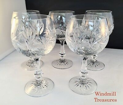 Set Of 5 Large Crystal Pin Wheel Wine Glasses - Great Condition