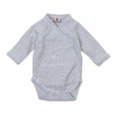 "Milarda Baby Body Wickelbody ""I love my mommy + daddy"", grau, Gr. 50-62"