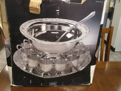 ROYAL LIMITED Silver Plate Fifteen Piece PUNCH BOWL SET IN ORIGINAL BOX