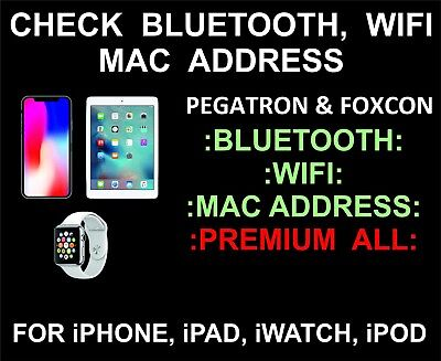 Bluetooth And WiFi Mac Address Check Premium Service iPhone | iPad | iWatch iPod