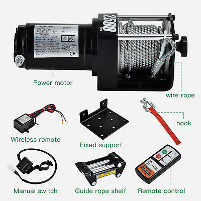 2500lbs 12V/24V Electric Recovery Winch Truck SUV Wireless Remote Control