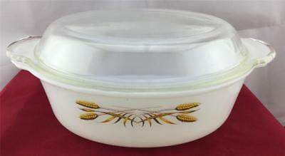 Anchor Hocking Fire-King  Wheat Casserole Dish 2 Qt  With Lid 467 Vintage