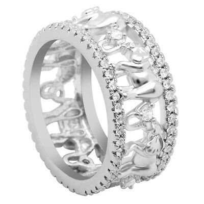 Ring Silve Plated with Elephant and Zirconia Crystal White