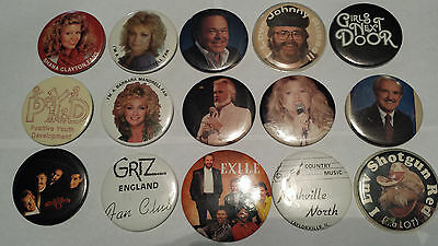"""Country Music (15) Pin Back Buttons 3"""" (14) and 3.5"""" (1) Vintage 1980s"""