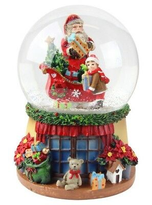 Snow Globe Father Christmas Santas Sleigh and helper Gisela Graham Music Dome