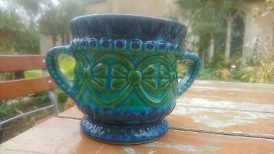 Lovely Vintage Retro West German Ceramic Glazed Plant Pot Planter Blue Green