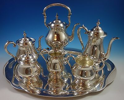 Old French by Gorham Sterling Silver Tea Set 6pc with Tray (#1639) Exceptional