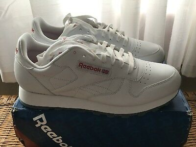 bee9b749fc38 Mens Reebok Classic Leather Ice White Red Clear Sole Size 11.5 New In Box