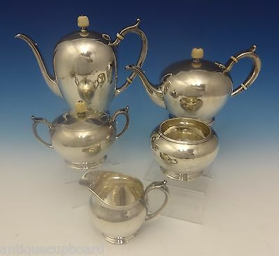Arthur Stone Sterling Silver Tea Set Hand Wrought 5 Pc. (#0284)