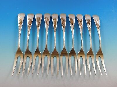 Mixed Metals by Gorham Sterling Silver Set of 10 Escargot Forks Hammered w/ Mono