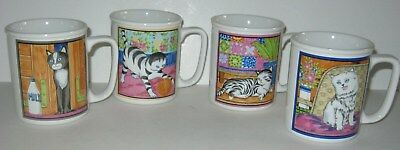 Vintage Cat Mugs Cat Mug Set Novelty Cat Cups Set of 4